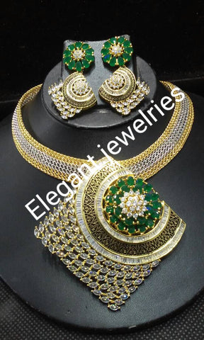 Clearance: 3pcs choker pendant set in 22k electroplating gold set. CZ stones in white and Green dazzling stones. Sold as a set