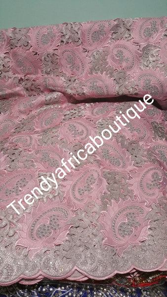 Baby pink swiss lace fabric. Handcuffs lace with crystal stones. Sold per 5yard lenght