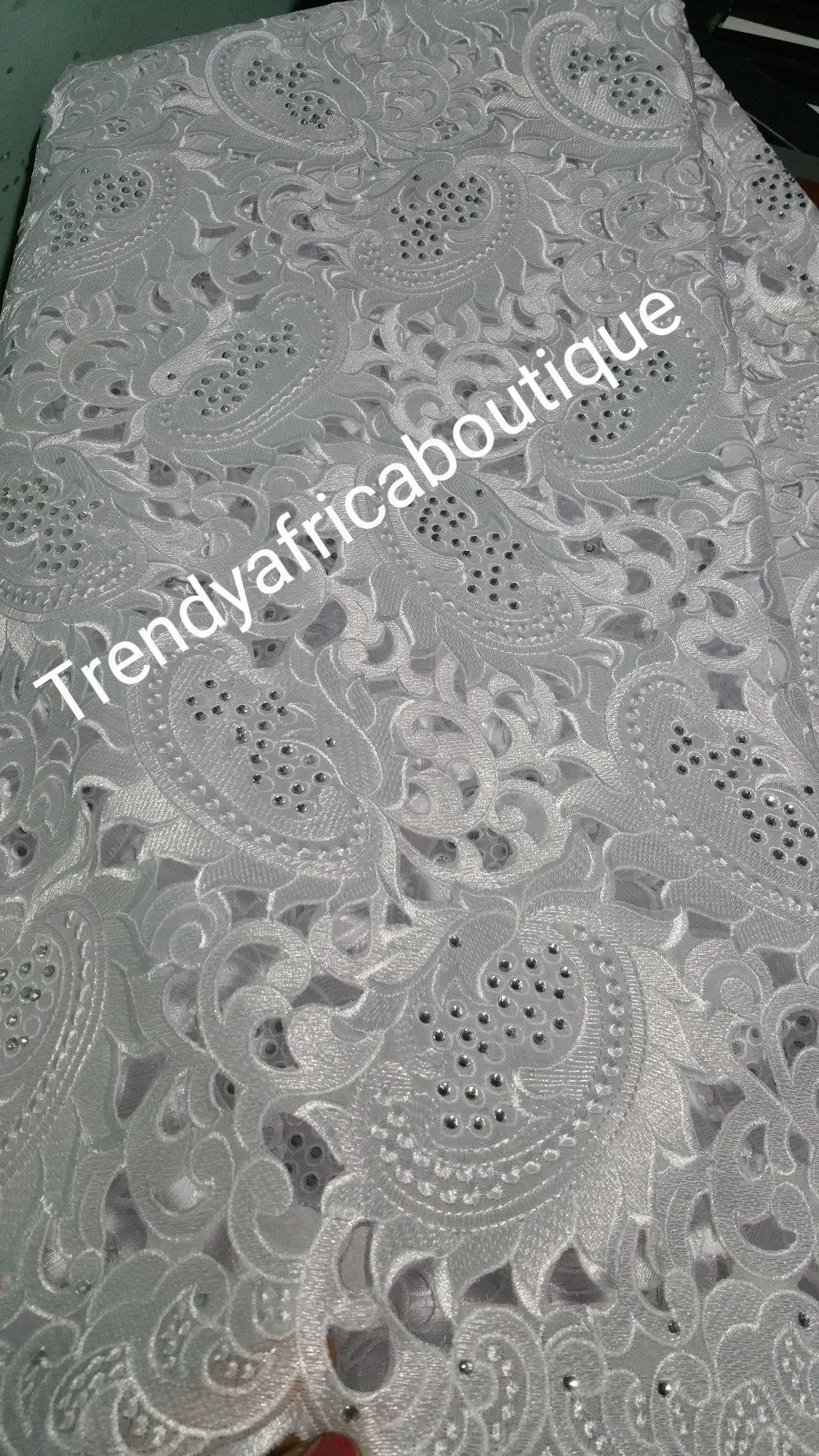 Big pure White/white hand cut swiss lace fabric. Sold per 5yds. Length. Celebrant white lace