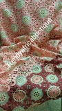 Sale: high quality Grade of Cord-lace fabric for Nigerian Party dress. Peach/Wine/Cream.  Sold per 5 yards. Guipure-lace for making Nigerian party dress