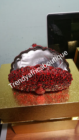 Red crystal stones Clutch/purse. Small hand held crystal clutch for weddings or formal occasion.