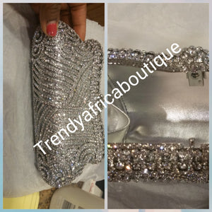 "Crystal Clutch/purse sale. Red carpet evening clutch for chics/classic babe. Hand purse 7.5 long× 6"" deep silver color"
