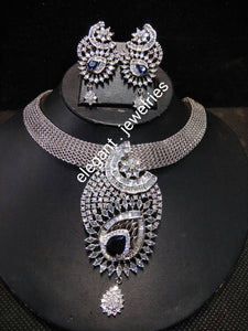 22k electroplated Silver set with CZ stones Jewelry set.  Silver choker/matching earrings. Sold as a set