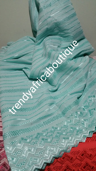 Assorted colors: Atiku swiss voile lace fabric for Nigerian Men native outfit. Soft quality fabric. Can be use for agbada too. Sold per 5yds.
