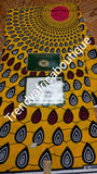 Yellow Ankara wax print fabric for making African dresses. Sold per 6 yards, price is for 6yards