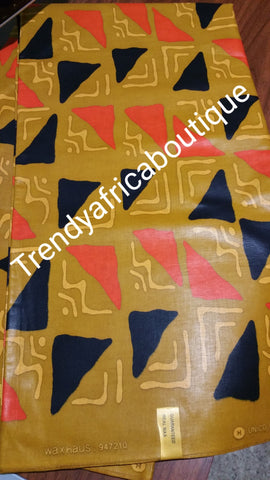 100% cotton African wax print fabric. Sold per 6yds. Price is for 6yards.