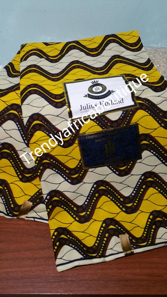Quality soft cotton wax print fabric in yellow/cream