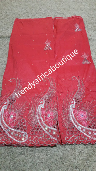 Clearance Sale: sweet Coral Nigerian  Hand Stoned George Wrapper with matching blouse. Coral color. Sold as a set of 5yds + 1.8yds matching blouse
