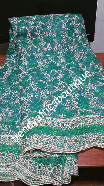 Embroidery french lace fabric with beautiful boarder. Sold per 5yards lenght. African/Nigerian fashion fabric