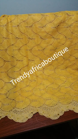On Sale: Yellow African french lace fabric for making party/ wedding dresses. Sold per 5yds.