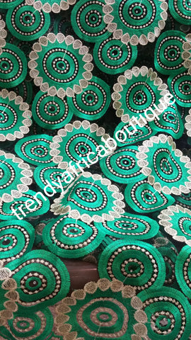 Green french lace Fabric for African Party dresses. Sold per 5yds.
