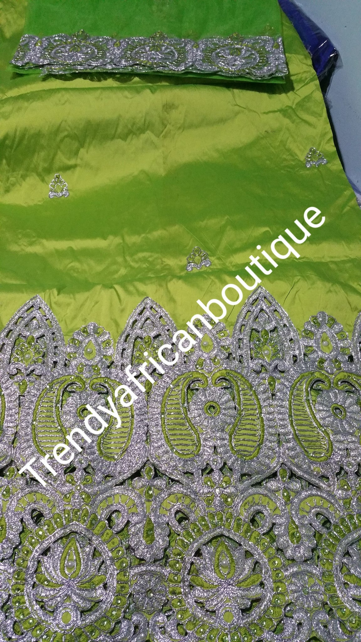 African Embroidery taffeta Silk George wrapper with matching blouse. Lemon green color. Small-George