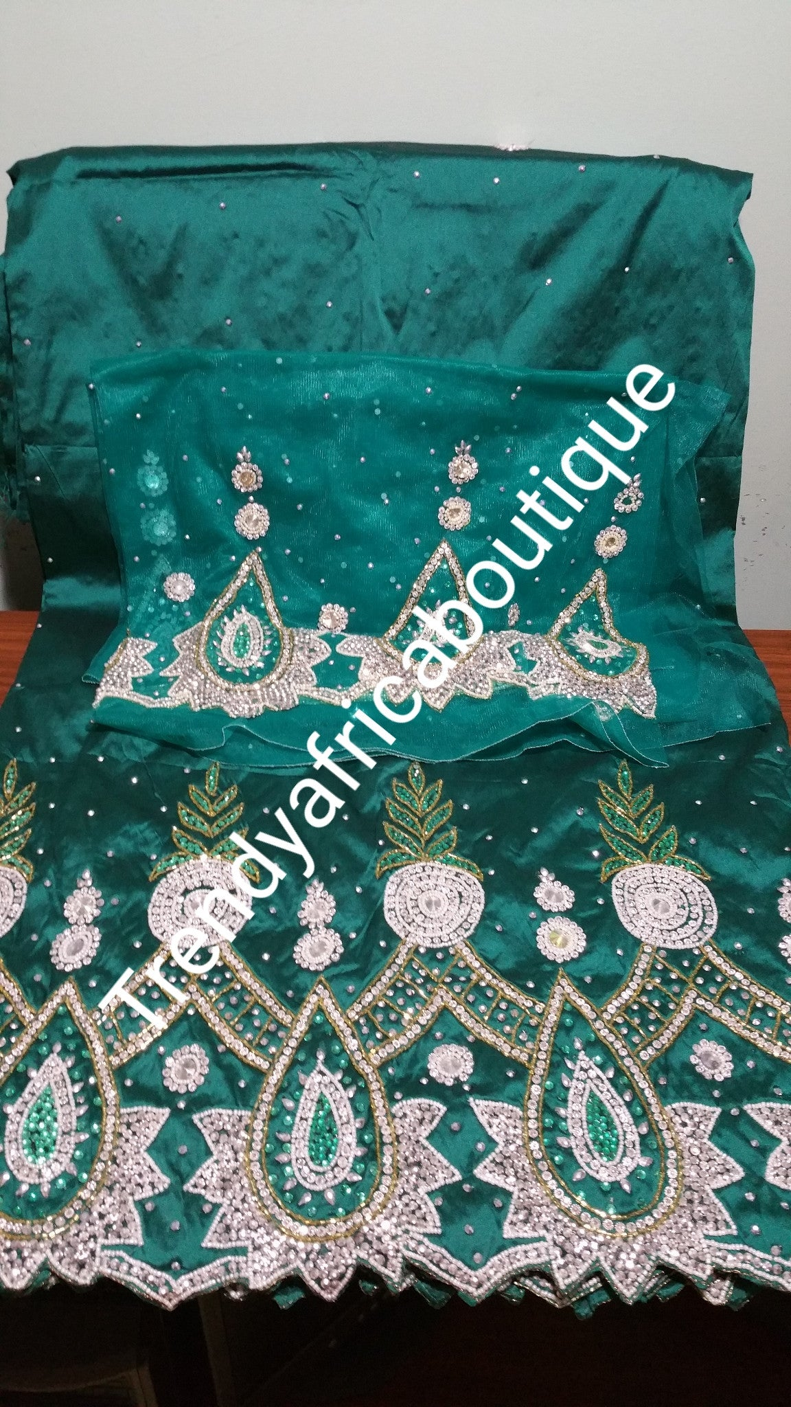 Special offer of Green VIP hand stoned all over George wrapper. Taffeta silk George in 5yds + 1.8yards matching blouse