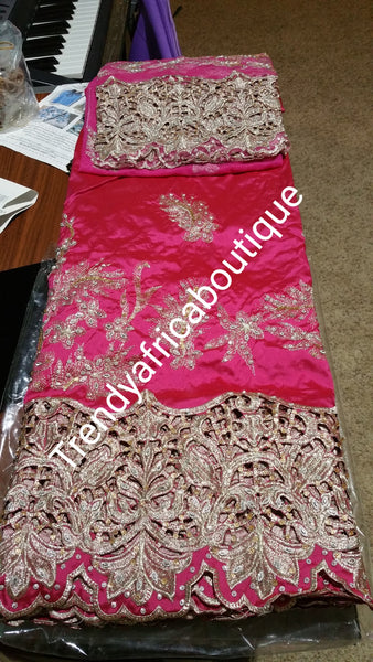 Special offer: Fuchsia pink Silk George wrapper. Embroidery/stones work combine. 5yds and 1.8yds matching blouse. Indian-George