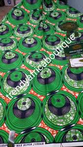 Beautiful Greenblack Ankara wax print fabrics. 100% cotton.6yds each