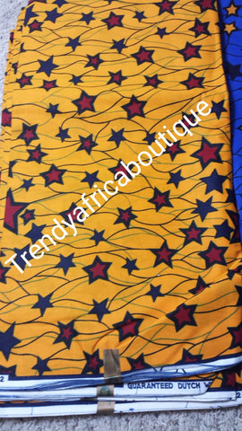 Yellow Star Guarantee cotton African wax print fabric. Sold per 6yards. Price is for 6yards
