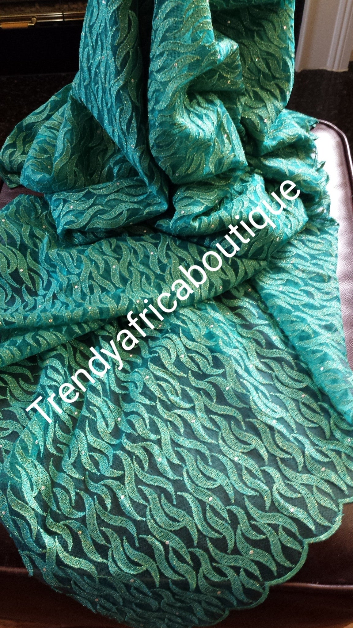 Special Offer: Green original African french lace fabric. Sold per 5yds. Price is for 5 yds