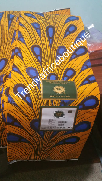 Yellow/blue electric bulbs African cotton wax print fabrics. 100% cotton. Sold per 6yds.
