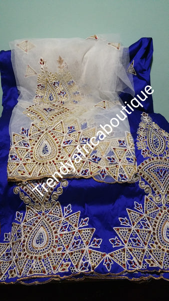 Hot sale: Embroidery/Hand stones George wrapper/blouse. 5yds royalblue & beige blouse. Indian-George design for African dresses or wrapper