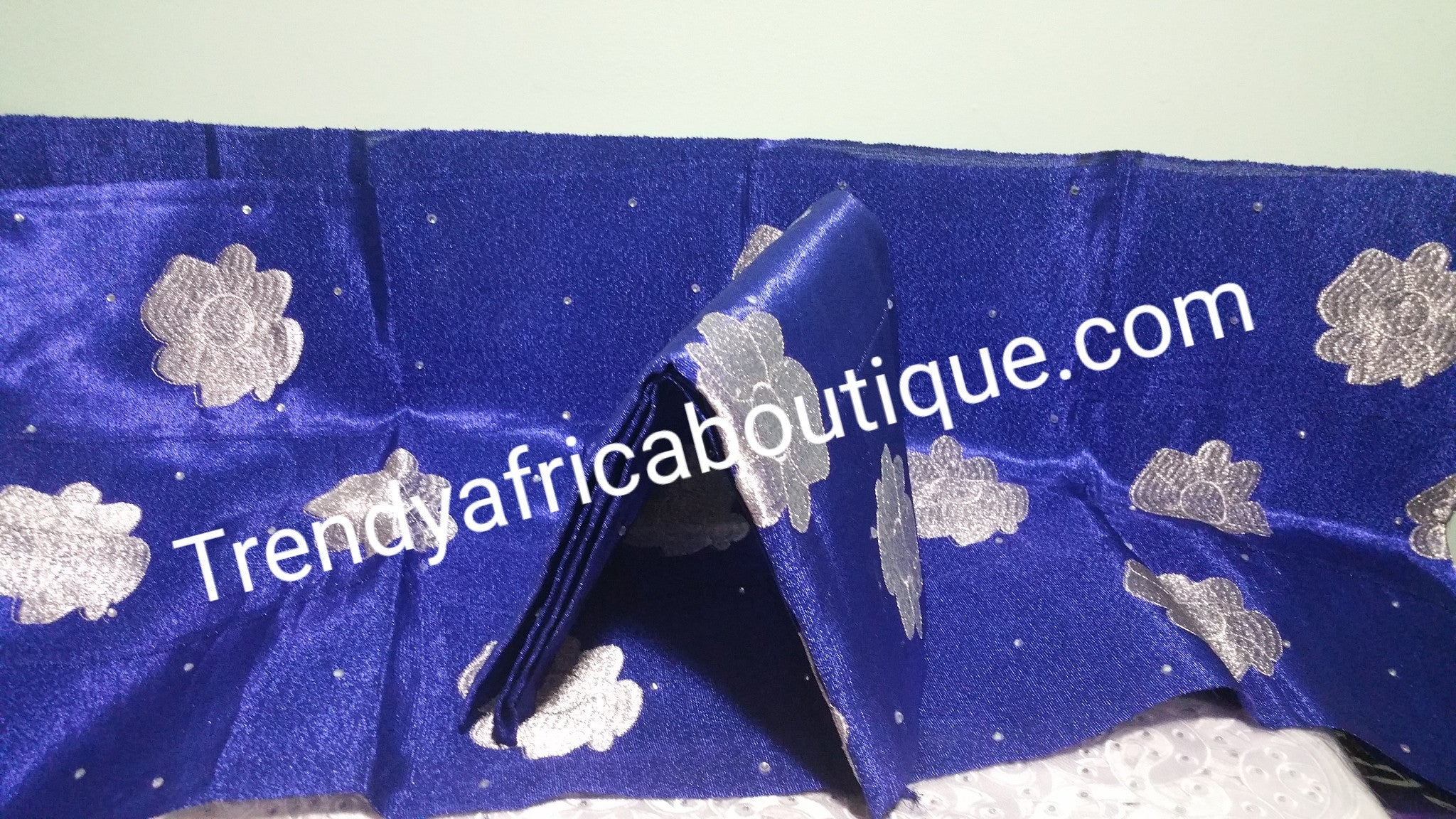 "Nigerian traditional aso-oke gele/ipele ""Sash"" with white embroidery and stone work in royalblue/ white embroidery gele set"