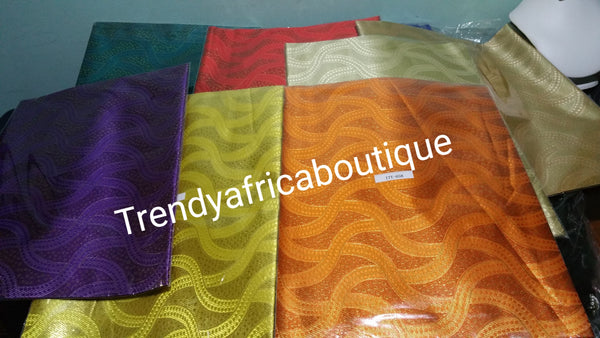 Sale: Assorted Colors Nigerian Gele/head tie fabric. Sago design 2-1 package. Sold as a pack price is for a pack