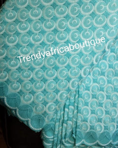 Clearance Embroidery Swiss dry lace fabric. Beautiful African lace in Blue, soft,great quality. Sold per 5yds.