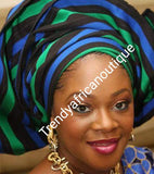 Original Nigerian Cotton Aso-oke gele. Lemon green/royal/navy blue Multi-color design. Easy to tie