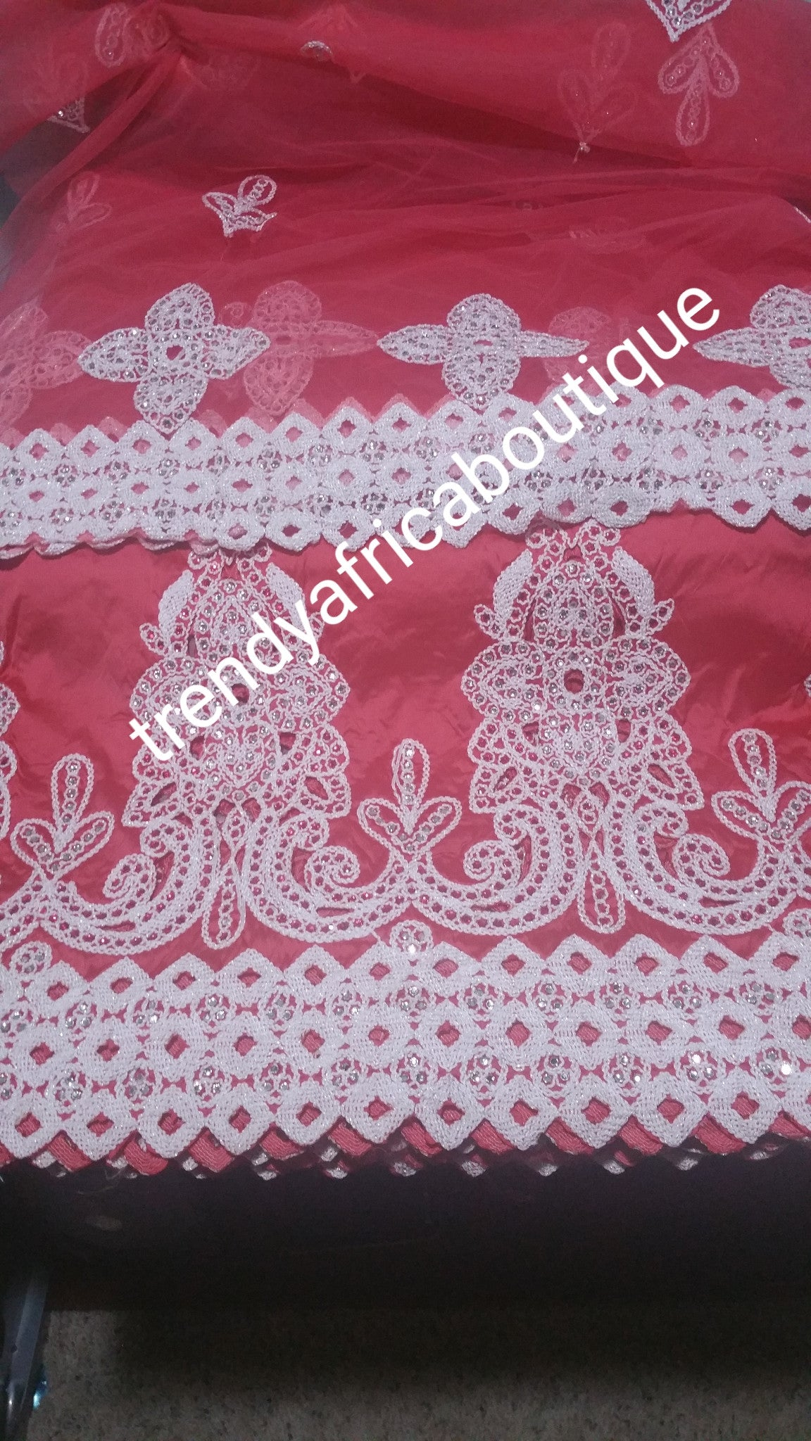 Sale: Coral/white  embroidery fancy Indian-George wrapper and a matching net blouse. 5yds. And 1.8yds blouse. Small-George.
