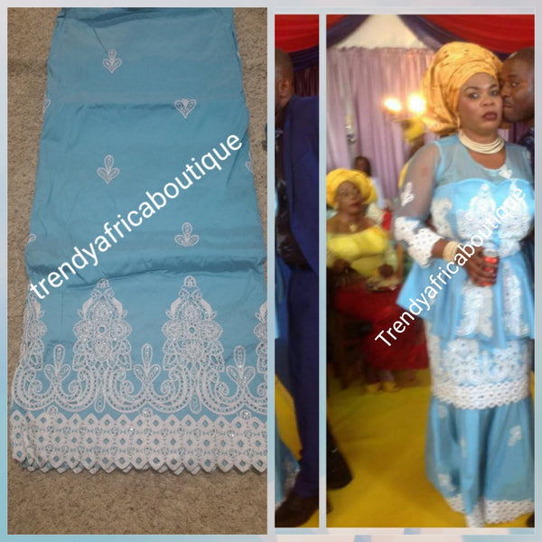 Sky Blue Embroidery and stones Silk George wrapper with matching blouse. Small-George for making African party dress. Original quality