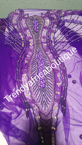 Beaded and stoned net for making Blouses for George wrapper. Sold in 1.8yards lenght. Available in 4 colors