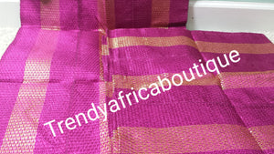 Clearance Fuchsia pink/gold 3pc set. Aso-oke gele/ipele/fila set for Nigerian Traditional party headwrap/headties. Soft easy to tie into latest gele