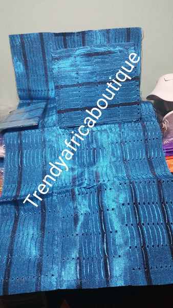 Turquoise blue/navy blue strips  Nigerian traditional aso-oke Gele/head tie for party wear. 3pcs set of gele/Ipele/cap piece