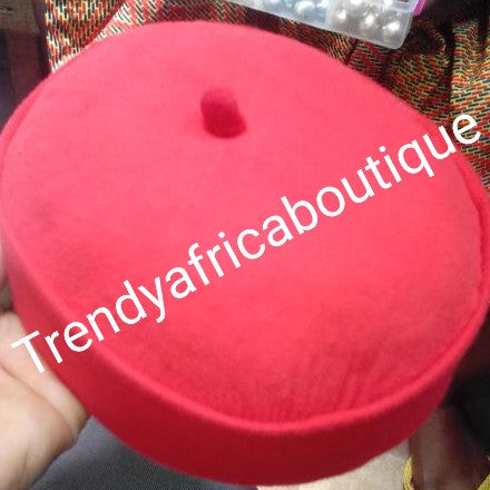 "Red Igbo men cap. Title men Nigerian traditional cap mostly use by the Igbo""s"