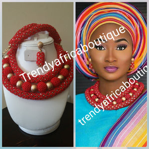 Red beaded coral-necklace set for Nigerian/African traditional wedding. 3pcs.Coral beaded necklace for Bride