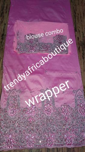 Sale: Pink India Silk George wrapprr with matching net blouse . 5yds silk George + 1.8yds net sold as set, price is for the set