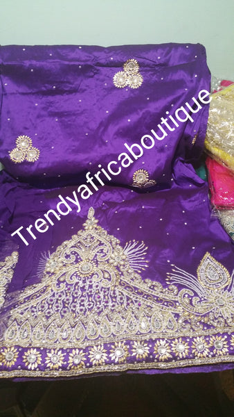 Purple Top Quality Heavily stoned/beaded VIP George wrapper for Igbo/Nigerian traditional wedding. 5yrds wrapper + 1.8yds. Matching blouse