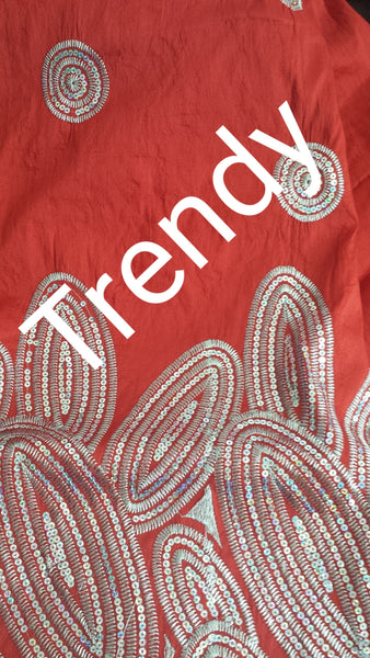 Clearance:  Red fancy Embroidery silk Indian-George wrapper with sequence. Fancy Indian George use for Nigerian party dresses. Small-George Sold 5yards each