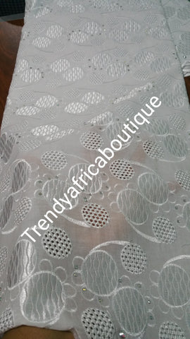 Original quality Swiss lace Fabric. Pure white for Nigerian party dress. Sold per 5yds. Price is for 5yds