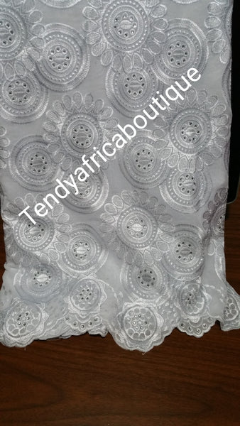 White/White swiss lace fabric for Nigerian party dress. Sold per 5yds
