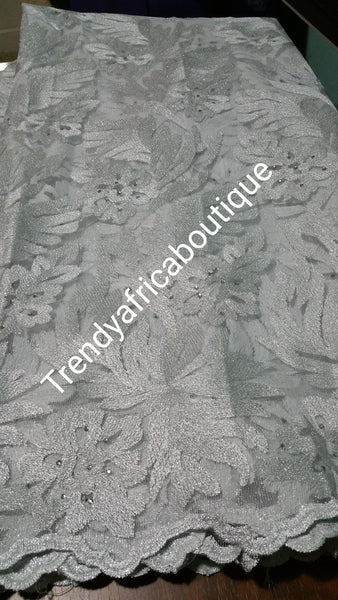 White tulle French lace fabric for making African party dress. Sold per 5yds. Price is for 5yds