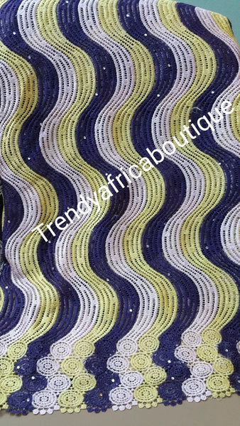 Navyblue/lemon/white cord-lace fabric for making Nigerian tradional native wear. Sold 5yds lenght