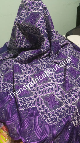 Purple Swiss Voile lace fabric. Nigerian Embroidery lace for ceremony/party. Sold per 5yds.