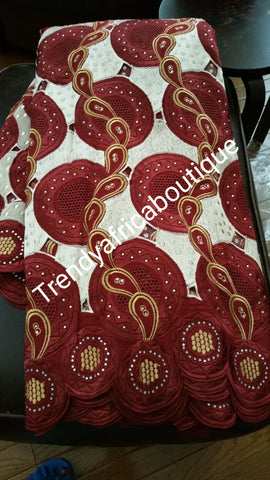 Maroon Red/Gold embroidery swiss voile lace fabric for making Nigerian traditional wedding dress