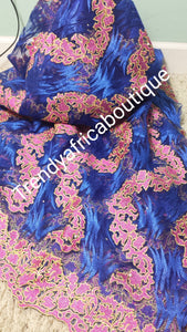 Royal blue /pink. French lace fabric for making African party dress. Sold as 5yds lenght.