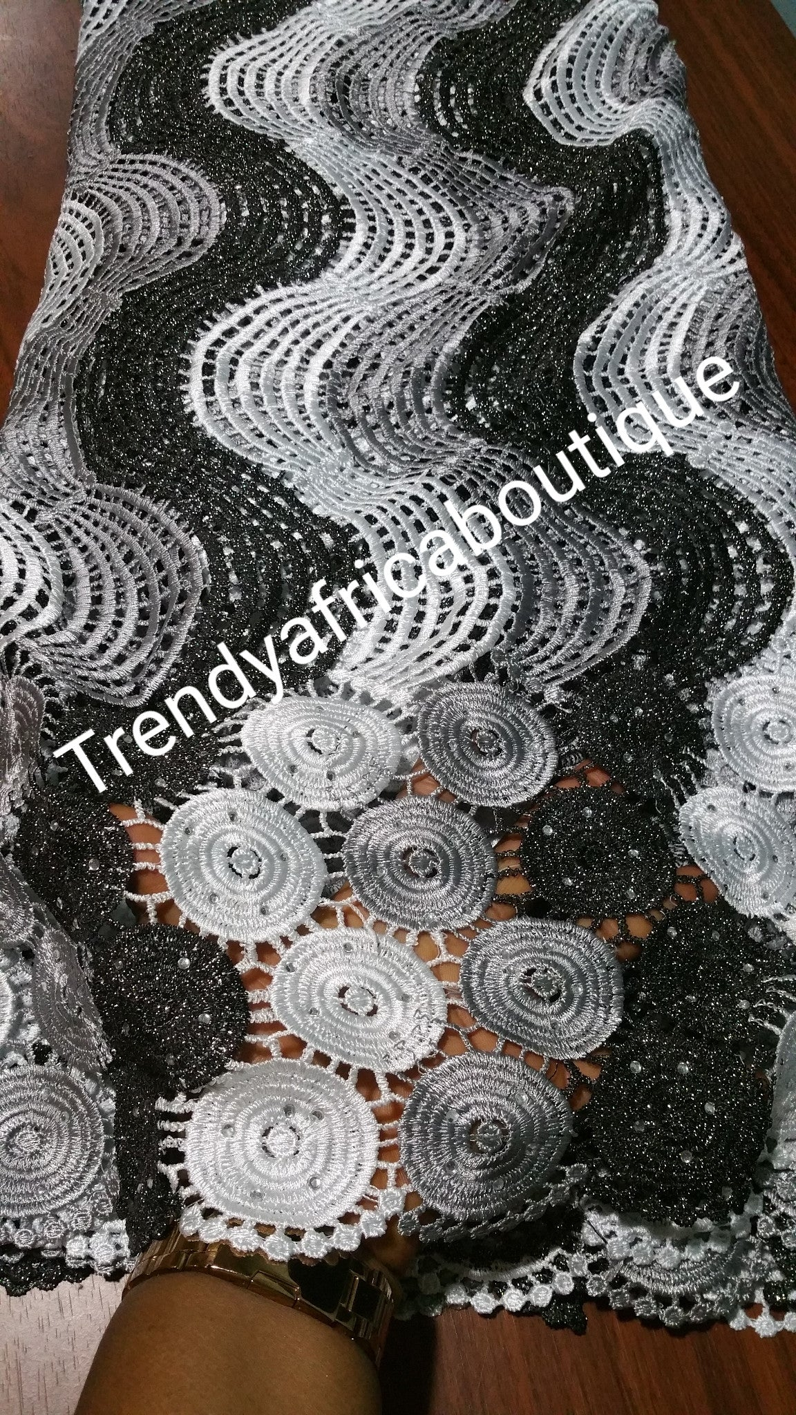 Black/white Cord-lace fabric. African gupuire lace fabric for party dress. Top quality soft  lace sold by 5yds