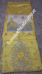 Small-George. Taffeta embriodery silk George wrapper + matching net blouse. Sweet yellow wrapper/off white blouse