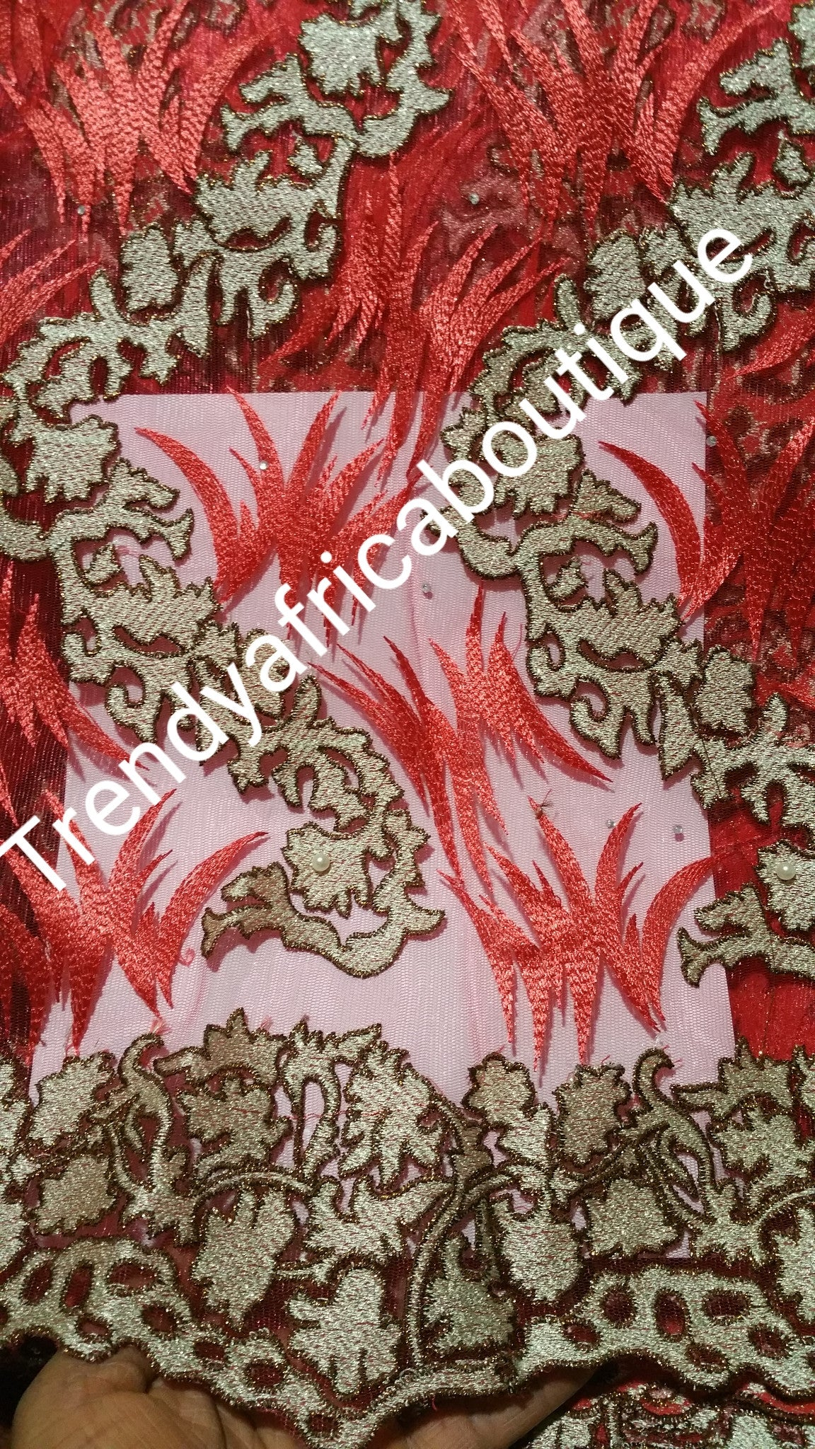Beautiful Red/beige french lace fabric for making African/traditional native dresses for party. Sold per 5yds. Price is for 5yds.