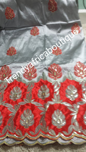 Gray/Red Indian Fancy Embroidery George wrapper. Small-George. IGBO  Traditional George fabric. Original quality silk/sequence with velvet design  border Sold as 5yards lenght.