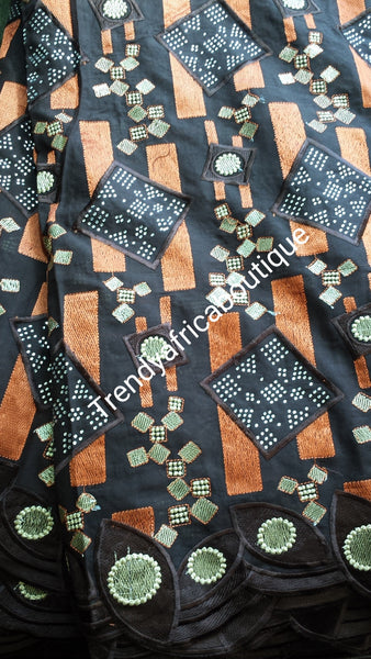 Bonus Sale: Original Quality Big Swiss lace fabric for Nigerian\African Celebrants. Chocolate brown/Orange with all over crystal stones. Coffee brown lace. Sold with orange gele (headtie)