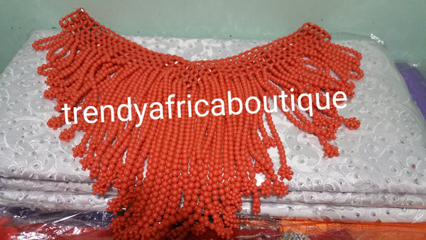 Original Bridal Beaded coral shawl for Nigerian/African traditional wedding accessories . Coral-necklace